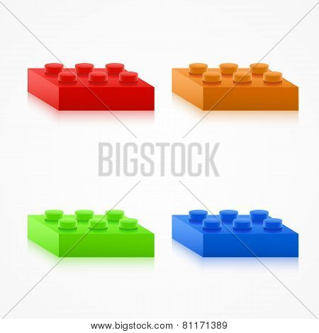 Isometric Colorful Plastic Building Blocks.