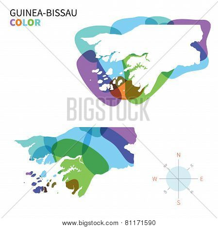 Abstract vector color map of Guinea-Bissau with transparent paint effect.