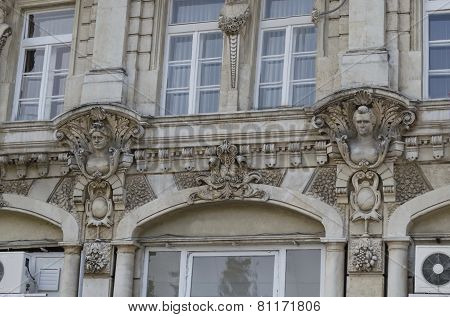 Fragment close up of ancient building with rich decoration in centre of Ruse town, Bulgaria    from