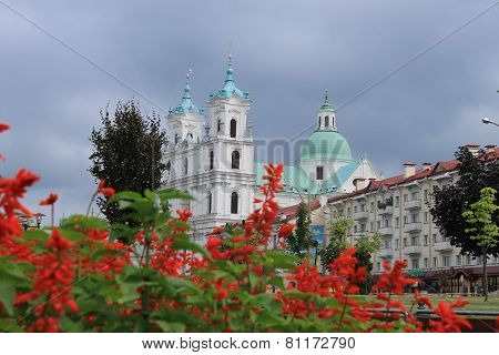 Catholic cathedral with red flowers