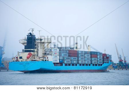 MAERSK Container Ship BOMAR VICTORY in Klaipeda harbour