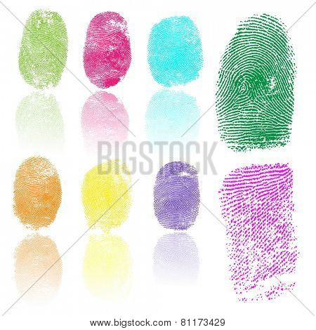 Set of colored fingerprints, illustration isolated on white