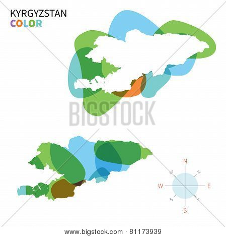 Abstract vector color map of Kyrgyzstan with transparent paint effect.