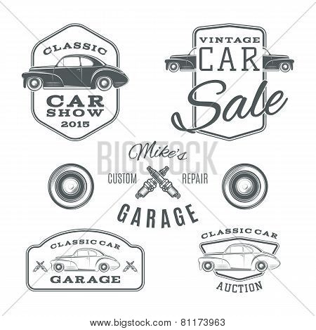 Set of vintage, classic car services labels isolated on white background