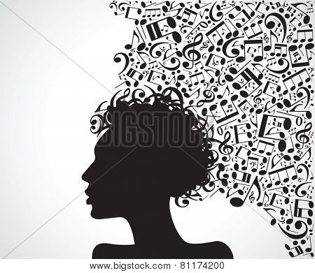 Vector illustration of abstract. face silhouette in profile with musical hair and gears. Musical creativity concept