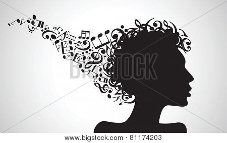 Vector illustration of abstract. face silhouette in profile with musical hair. Musical creativity concept