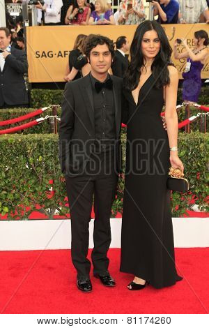 LOS ANGELES - JAN 25:  Kunal Nayyar, Neha Kapur at the 2015 Screen Actor Guild Awards at the Shrine Auditorium on January 25, 2015 in Los Angeles, CA