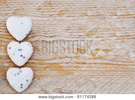 Valentines Day - Hearts On Wooden Background Love Concept