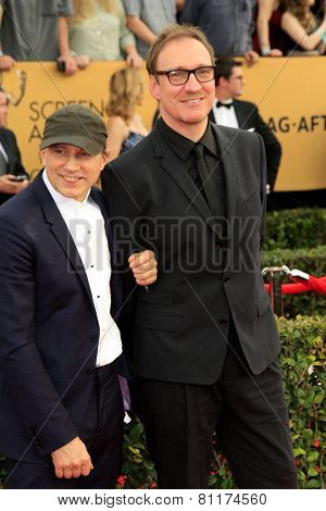 LOS ANGELES - JAN 25:  Simon McBurney, David Thewlis at the 2015 Screen Actor Guild Awards at the Shrine Auditorium on January 25, 2015 in Los Angeles, CA