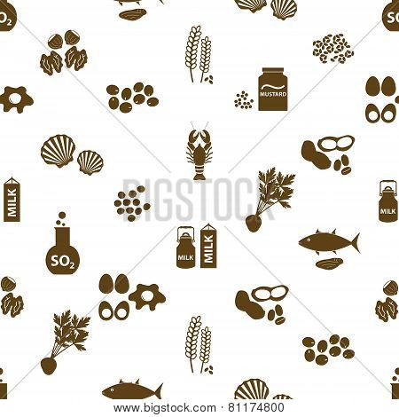 Set Of Typical Food Alergens For Restaurants Seamless Pattern Eps10