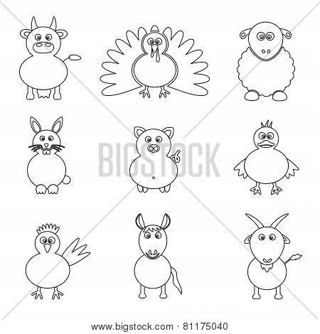 Farm Animals Simple Outline Icons Set Eps10