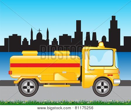 Yellow Tanker Truck on road