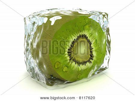 Kiwi In Ice Cube Isolated On White