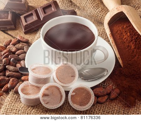 Cup Of Hot Chocolate With Pods.