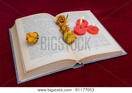 Three Red Candles Lying On The Book