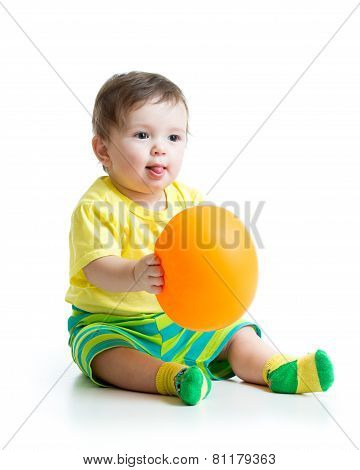cute baby with ballon in hands