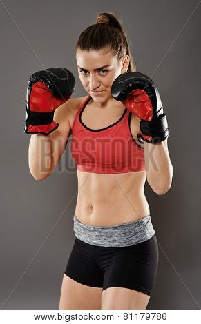 Kickbox Young Woman In Gloves