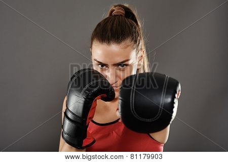 Kickbox Woman Left Jab
