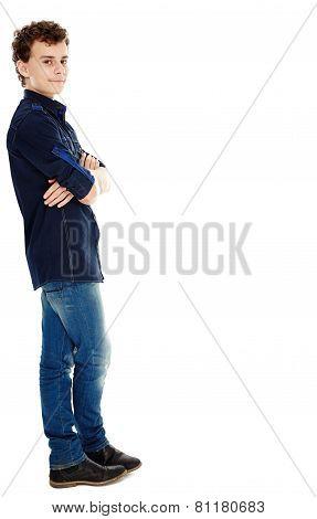 Teenager Smiling, Isolated On White, Full Length