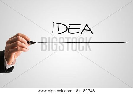 Man Writing The Word Idea