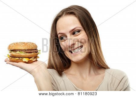 Young Woman Craving A Burger