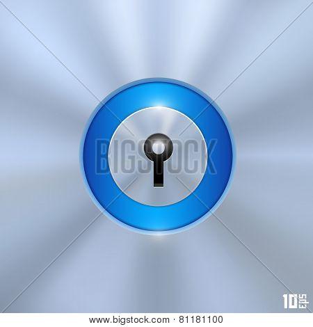 Keyhole on a blue background
