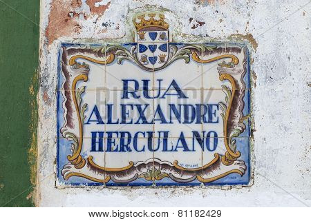 Exterior of the azulejo street name sign in Silves, Portugal.