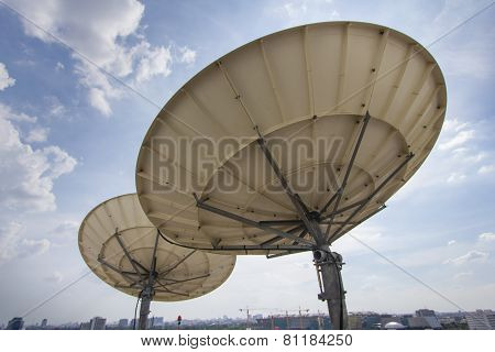 Two Satellite Dish For Telecommunications