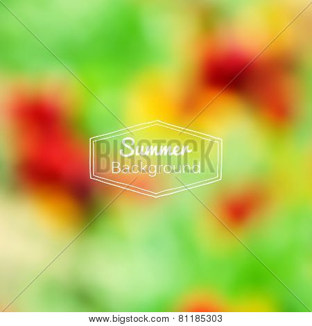 Vector blurred nature summer green and red background