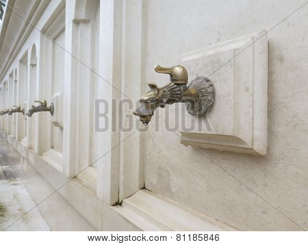 Faucet with mineral water. Drinking fountain