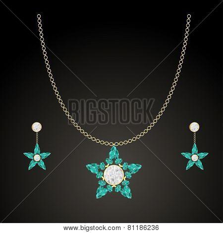 Jewelery With Emeralds And Diamonds