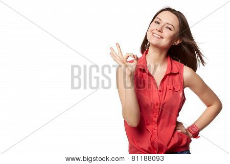 Happy Smiling Beautiful Young Woman Showing Okay Gesture, Isolated Over White