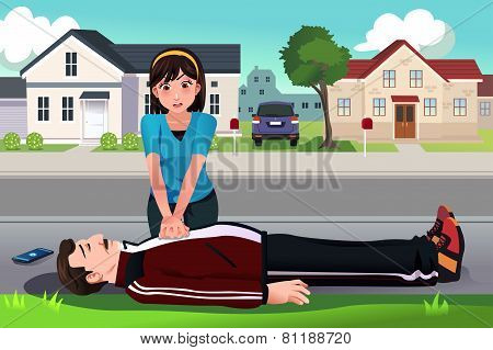 Teenager Giving A Cpr To A Middle Aged Man