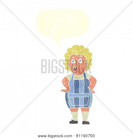 cartoon woman in kitchen apron with speech bubble