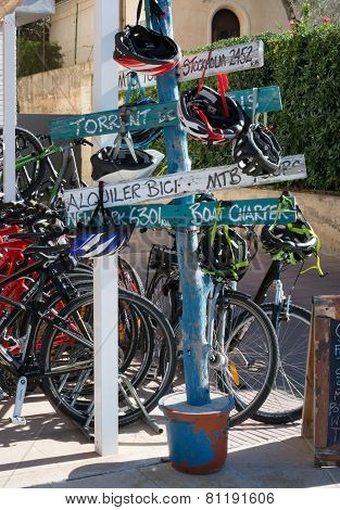 Signs By Bike Rental Agency In Port De Soller Mallorca