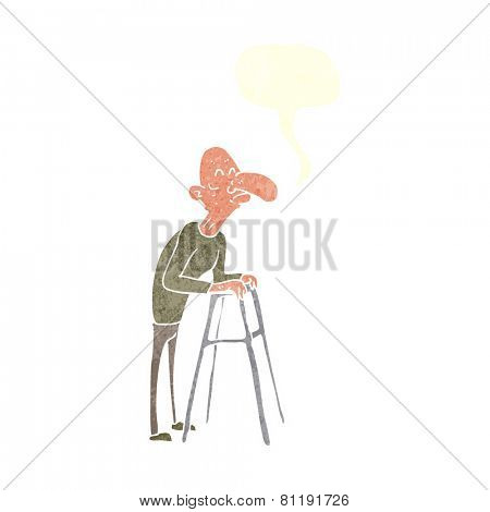 cartoon old man with frame