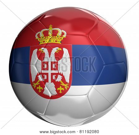 Soccer ball with Serbian flag