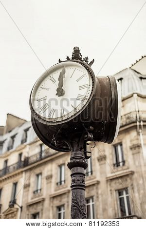 Paris Street View Detail Of A Street Clock