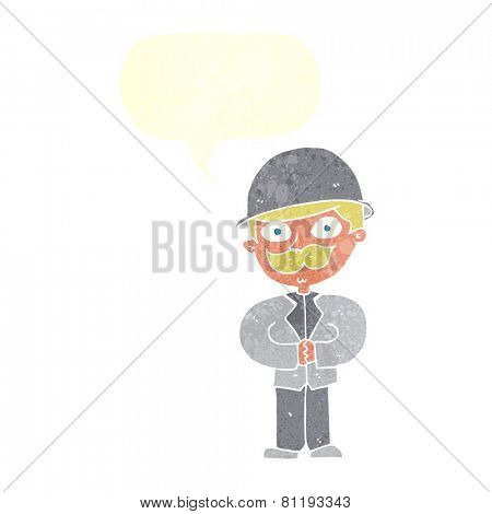 cartoon man with mustache and bowler hat