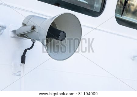 Megaphone Of A Speaker Phone On A Vessel, A Close Up