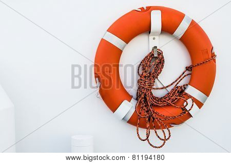 Lifebuoy Ring Onboard The Ship, A Close Up