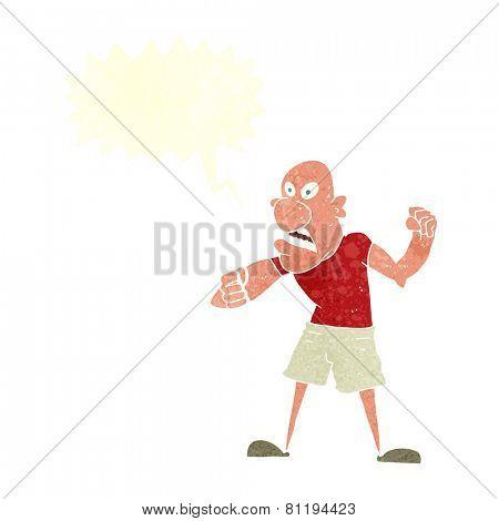 cartoon angry bald man