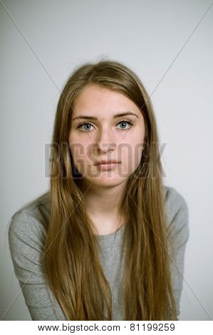 Artistic portrait of a real young girl