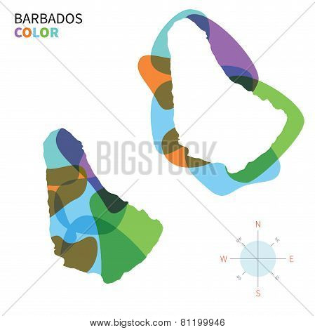 Abstract vector color map of Barbados with transparent paint effect.