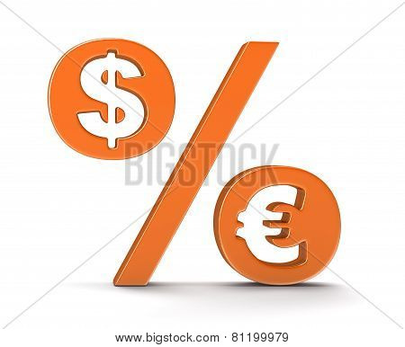 Percentage Sign with dollar and euro (clipping path included)
