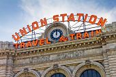 stock photo of union  - Historic Union Station in downtown Denver Colorado - JPG