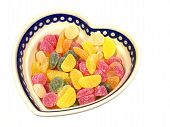 image of laxatives  - Sugar candies  in a heart shaped bowl - JPG