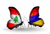 stock photo of armenia  - Two butterflies with flags on wings as symbol of relations Lebanon and Armenia - JPG