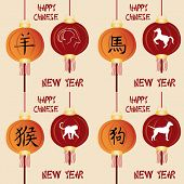 picture of chinese new year horse  - a set of backgrounds with traditional chinese elements for chinese new year - JPG