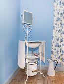 stock photo of wash-basin  - Vintage wash basin and bowl for hygiene - JPG
